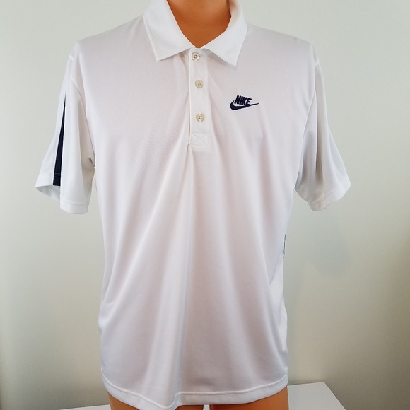 Nike Other - NIKE Men's White and Navy Blue Polo Shirt Large